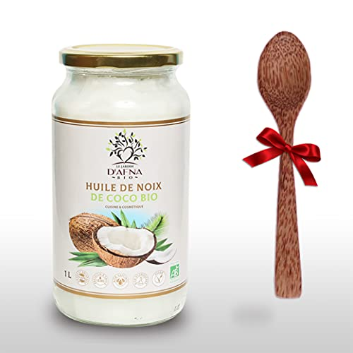 Huile de Coco Bio Extra Vierge - 1000 ml (1L) OFFRE LIMITEE - Non Raffinée et Pure - 1ere pression à froid - Idéale Pour la cuisine et en cosmétique - Cuillère en bois de coco offerte