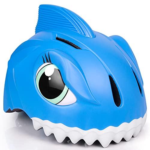 Casco de bicicleta infantil 3D Shark Animal para niños, niños y niñas, para bicicleta, scooter, monopatín y bicicleta, con certificado CE (49-55 cm) (azul)