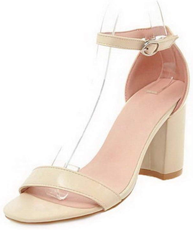 AllhqFashion Women's Open-Toe Buckle Pu Solid High-Heels Sandals, FBULD015550
