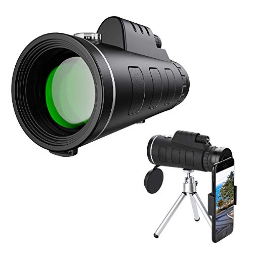 Monocular Telescope with Durable and Clear Prism Dual Focus, 40x60 High Definition Monocular Telescope with Smartphone Holder Tripod for Bird Watching, Camping, Travelling