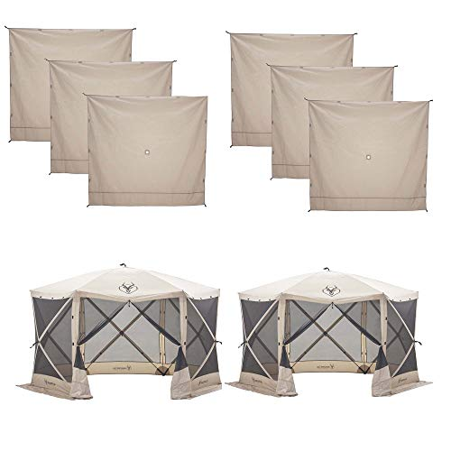 Gazelle Wind Panel (6 Pack) Bundled with 8-Person Portable Outdoor Gazebo Screen Tent (2 Pack)