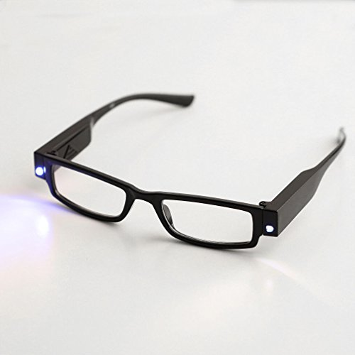Happy Hours - Fashion Style Hand-Free Lighting Night Bedroom Book Bright Lighted Up LED Black Full Frame Reading Glasses Spectacle Diopter Magnifier + Batteries (Strength:+2.00)