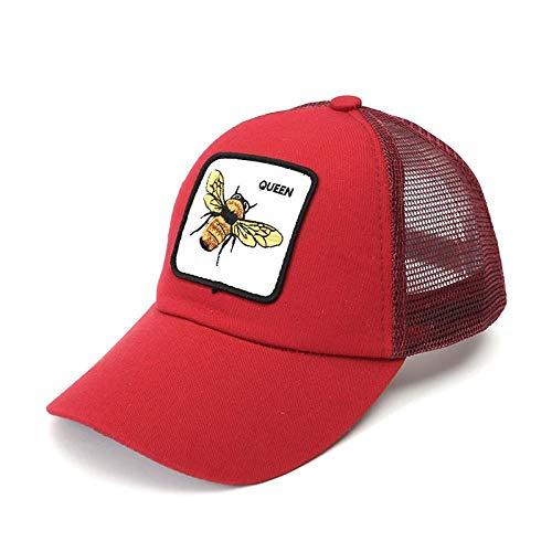 Swooggle New Net Männer und Frauen Sommer Coole Baseball-Netzkappe Biene Baumwolle Baseballmütze männliche und weibliche Persönlichkeit Abdeckung Sonnenhut verstellbar 58-60 cm Rot