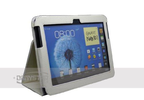 DANYSTAR Custodia Cover in Ecopelle Bianca per Samsung Galaxy Note 10.1 N8000 / N8010 - Accessori per Tablet