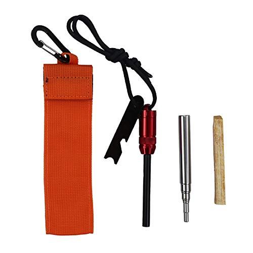 Outdoor Survival Fire Tools Creative Fire Starter Storage Handle Magnesium Flint Blow Fire Tube Orange Bag Scraper Kit for Outdoor Survival - Red