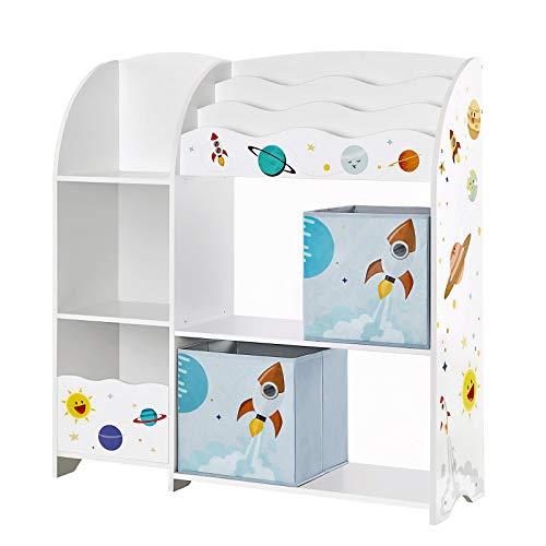 SONGMICS Organizador de Juguetes y Libros para Niños, Estantería de Almacenamiento Multifuncional con 2 Cajas, Gran Capacidad, Tema Universal, para Dormitorio, Salón, Blanco GKR42WT
