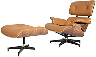 Modern Sources - Mid-Century Swivel Plywood Lounge Chair & Ottoman Light Brown Walnut Real Premium Leather