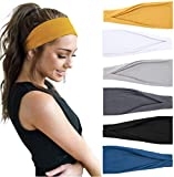 Huachi Women's Headbands Yoga Workout Exercise Headband Sweat Wicking Hair Bands Summer Hair Accessories Solid Colors