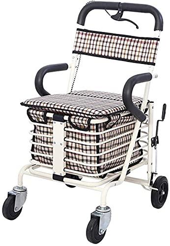 Rollator Walker, carrito de compras de 4 ruedas Médico Rolling Walker para el anciano/scooter plegable con asiento/se puede sentarse en cuatro ruedas para ir de compras y caminatas de ocio camione