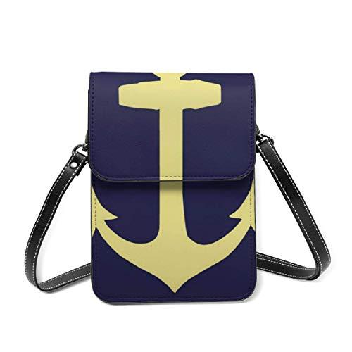 Small Shoulder Bag, Yellow Anchor Navy Blue Crossbody Bag CellPhone Wallet Purse Lightweight Crossbody Handbags for Women Girl