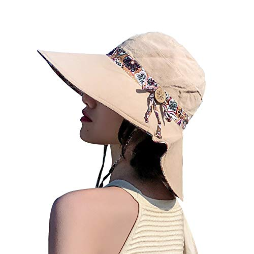 TAGVO Sombrero de Verano para Mujer Sombreros Desmontables del Bowknot para Mujer Sombrero de Playa Empaquetado de ala Ancha Plegable y Protector Solar con cordón