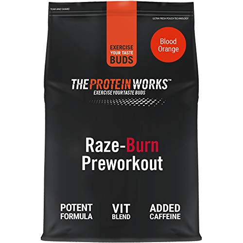 The Protein Works RAZE-Burn Preworkout Powder, Thermogenic with Caffeine, Glutamine, Orange Burst, 10 Servings, 250 g