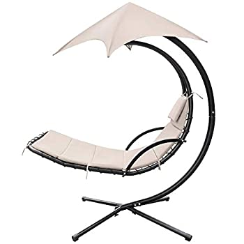 Homall Patio Hammock Lounge Chair Outdoor Hanging Chaise Lounge Swing Chair Canopy Umbrella Sun Shade Free Standing Floating Bed Furniture for Backyard Garden Deck  Beige