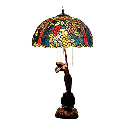 CENPEN Tiffany Lámpara de Mesa de UVA de Mesa Lámpara de Lujo de Estar Lámpara Comedor Dormitorio Diámetro 40 cm Altura 76 cm X 3 E27 zócalo Interior Tiffany Lámparas de Mesa