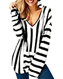 ACHIOOWA Camiseta de Mujer Camisa de Manga Larga de Rayas Sexy para Mujer Elegante Cuello en V con Capucha Blanco Negro L