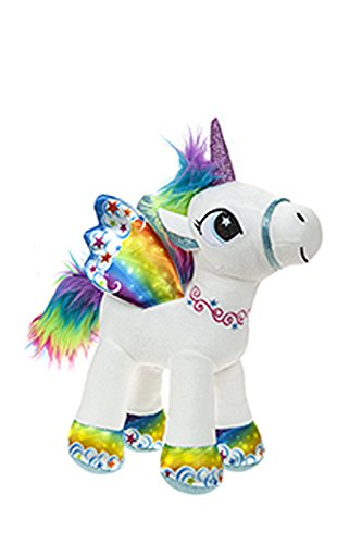 BARRADO Peluche Unicornio con alas de pie - Calidad Supersoft (Blanco/Arcoiris, 34cm)
