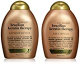 OGX Ever Straight Brazilian Keratin Therapy Shampoo & Conditioner, 385 ml, 2 Stück