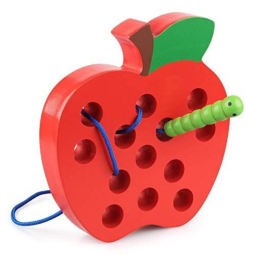 Soul hill Holz Schnürsystem Threading Apple-Spielzeug Holz Block Puzzle Reisespiel Montessori Early Learning Feinmotorik pädagogisches Geschenk for 1 2 3 Jährige Kleinkinder Kind-Baby zcaqtajro