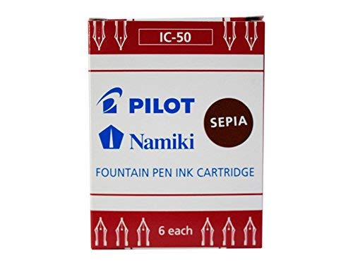 Boite 6 cartouches encre PILOT NAMIKI pour stylo CAPLESS plume IC-50 couleur SEPIA