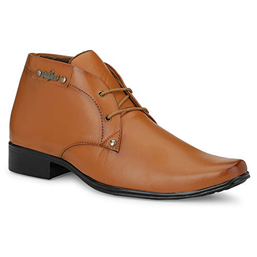 DERBY KICKS Men's Synthetic Leather Formal Boots | Ankle Shoes | Formal Shoes for Men (TAN, Numeric_9)