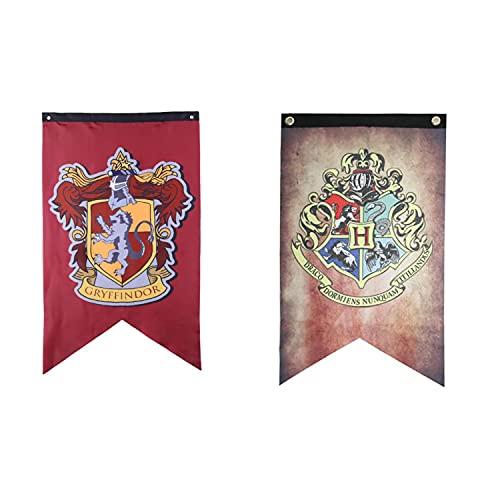 Jintong 2Pcs 75 * 125cm Harry Potter Banner Complete Hogwarts House Wall Banner Bandera de Fiesta Interior al Aire Libre - Gryffindor, Slytherin, Hufflepuff, Ravenclaw Banner Set (AA)