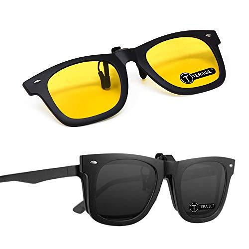 TERAISE 2 STÜCKE Clip auf Flip up Polarisierte Linse Für Brillen Nachtsicht Clip auf Sonnenbrille für männer und Frauen Mit brillenetui Anti-Glare Driving Brillen für Radfahren Angeln (Black-Yellow)