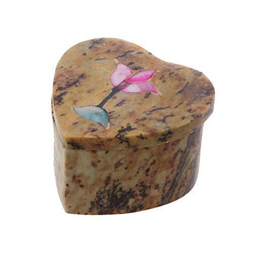 Li'Shay Marble Soapstone Mini Jewelry Box Trinket Chest with Flowers - Heart