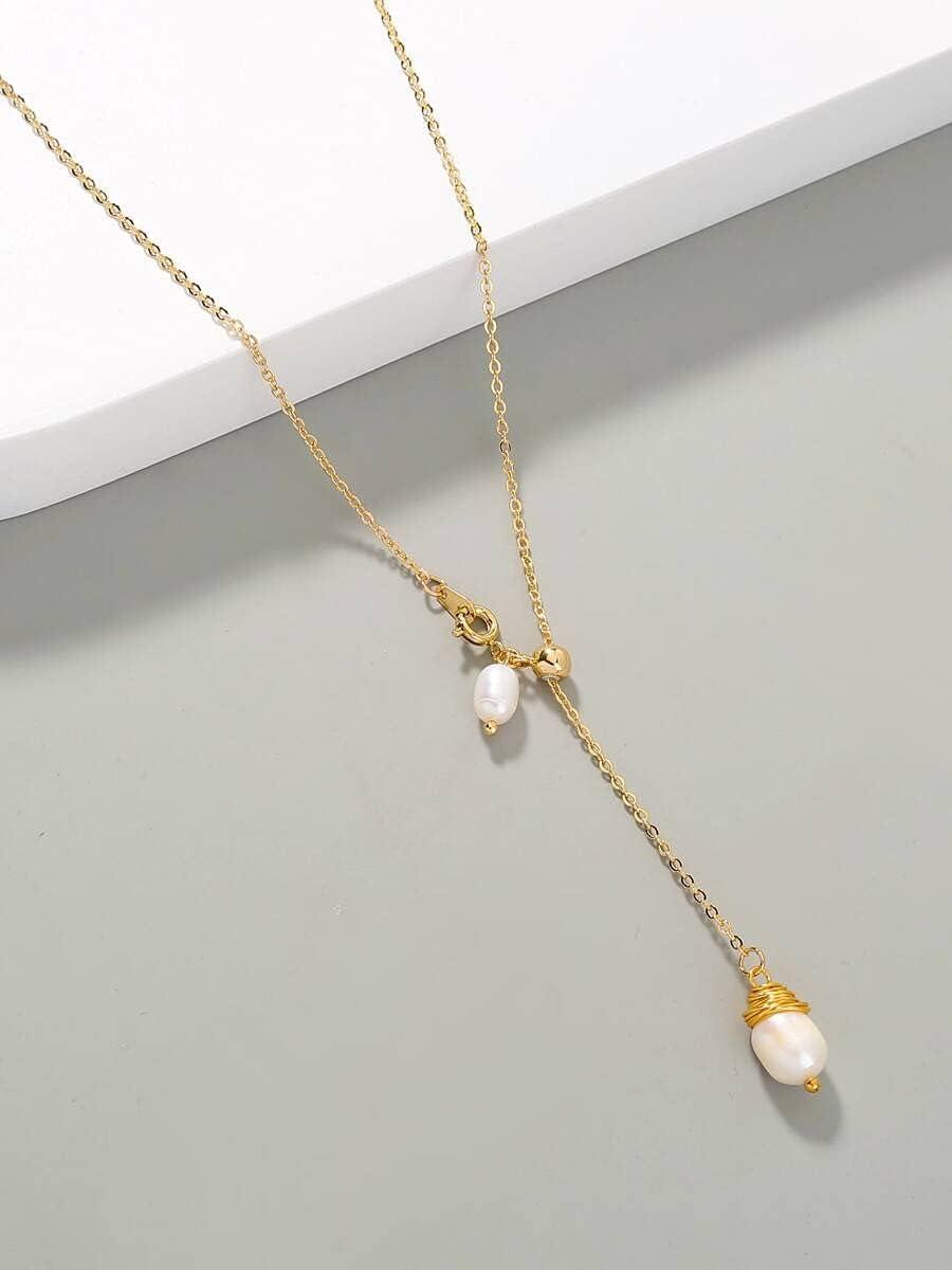 Necklace Pendant Natural Pearl Decor Y Lariat Necklace (Color : Gold)
