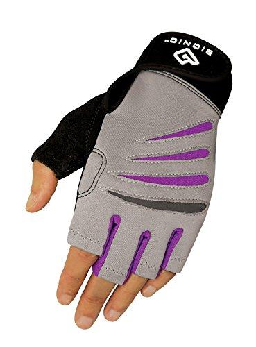 BIONIC Women's Cross-Training Fingerless Gloves w/Natural Fit Technology, Gray/Purple, (Pair)