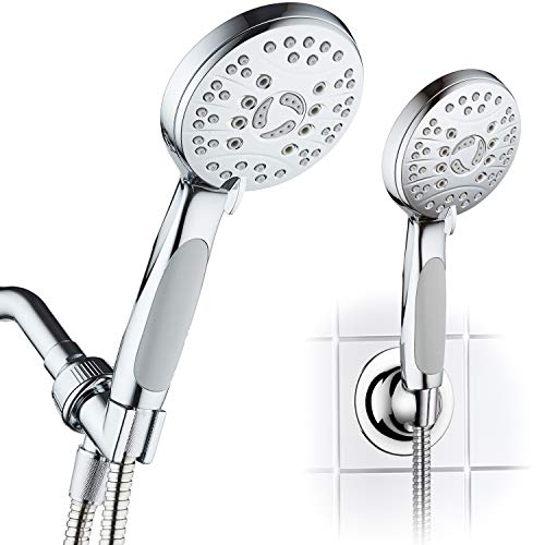 AquaSpa High Pressure 6-setting Luxury Handheld Shower Head – Extra Long 6 Foot Stainless Steel Hose – Anti Clog Jets – Anti Slip Grip – All Chrome Finish – Top US Brand – Includes Extra Wall Bracket