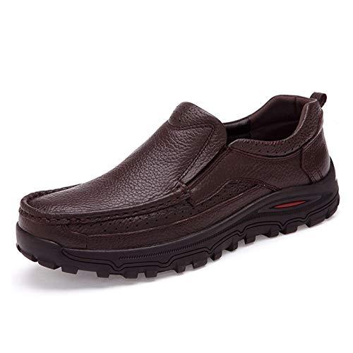 JINWEI Oxfords para Hombres Zapatos de Trabajo clásicos resbalones en Vestido de Negocios de Cuero Genuino bajo Top Top sólido Punta Ronda Antideslizante. (Color : Brown, Size : 44 EU)