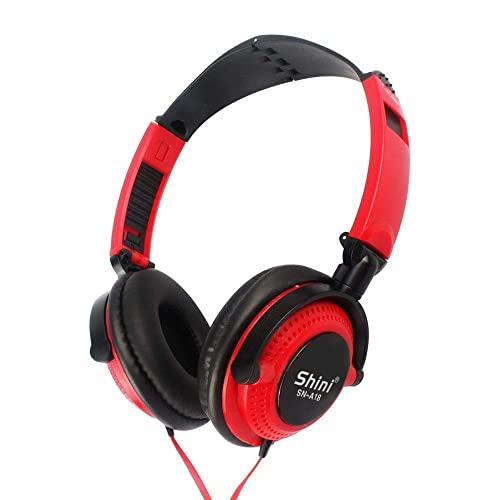 HYMKL Cuffie musicali in stile paraorecchie wireless BT 5.0 auricolare TF card lettore MP3 AUX IN 3,5 mm auricolare cablato vivavoce con microfono batteria ricaricabile integrata da 200 mAh (rosso)
