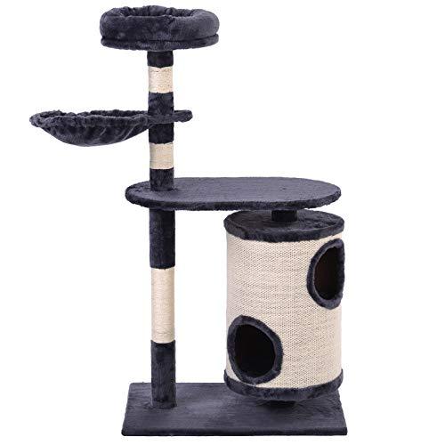 belupai Árbol para gatos con barril para rascar, árbol para gatos cilíndrico, centro de actividad para gatos (gris oscuro)