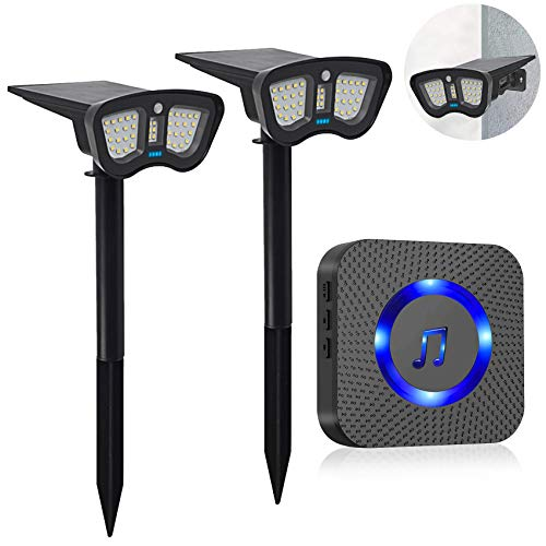 Solar Driveway Alarm with Solar LED Lights - Motion Sensor Wireless Wall/Landscaping Detector Lights, IP67 Waterproof Outdoor Security Alert System with Plug-in Receiver Protect Home/Outside Property
