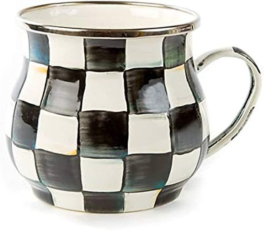 MacKenzie Childs Courtly Check Enamel Mug Enamel Stainless Steel Black And White Little Tea Creamer 4 25 Dia 3 5 Tall 16 Oz Capacity