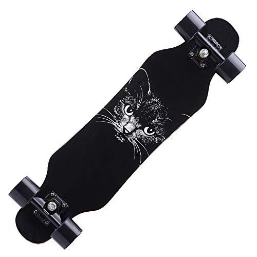 Skateboard Deck Biegbares Deck und glatte PU-Rollen Geeignetes komplettes Skateboard mit Skate-Werkzeugset für Kinder Jungen Mädchen Jugendliche Anfänger,Black