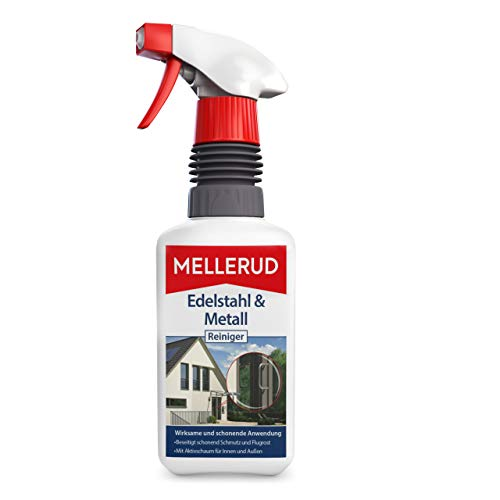 Mellerud Edelstahl & Metall Reiniger – Wirkungsvolles Spray gegen Fett, Öl, Fingerabdrücke und vieles mehr für Metall-Oberflächen im Innen- und Außenbereich – 1 x 0,5 l