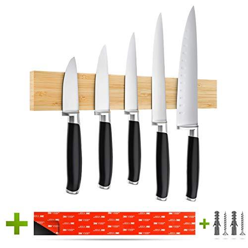 Romero Living® Magnet Messerleiste Bambus 40cm inkl. 3M VHB Klebeband | Selbstklebender Messerhalter mit starken Magneten zur Wandmontage ohne Bohren!