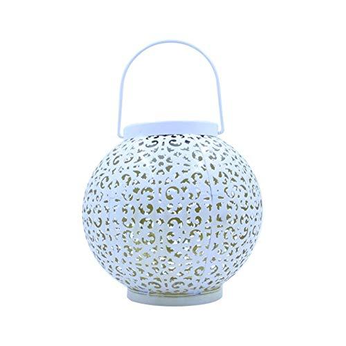 A-myt Puede vestir el jardín Hierro Art Linterna Luz Exterior Decoración Kindling Colgante Lámpara Jardín Patio Camino Decoración del Hogar Creativo Bola Hueco Solar LED multifuncional