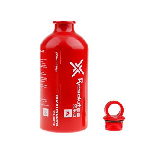 Aluminium Ölflaschen / Spiritusflaschen / Benzinflaschen usw. Brennstoffflaschen für Outdoor Camping, BBQ, Grill Gas- Ölbehälter - Größe Auswählbar - Rot, 500ml