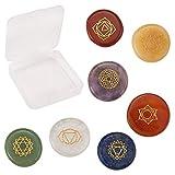 SUNNYCLUE 1 Scatola Pietre Naturali dei Veri Chakra Reiki Guarigione Yoga Cristalli con Simboli dei Chakra Incisi Bilanciamento Olistico Pietre di Palma Lucidate Set di 7 Perline di Pietre Preziose