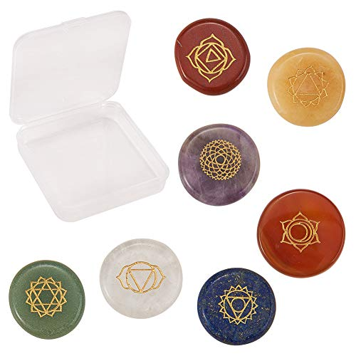 SUNNYCLUE 1 Caja de Piedras de Chakra Reales Naturales Reiki Cristales de Yoga Curativos con Símbolos de Chakra Grabados Piedras de Equilibrio Holístico Juego de 7 Cuentas de Piedras Preciosas