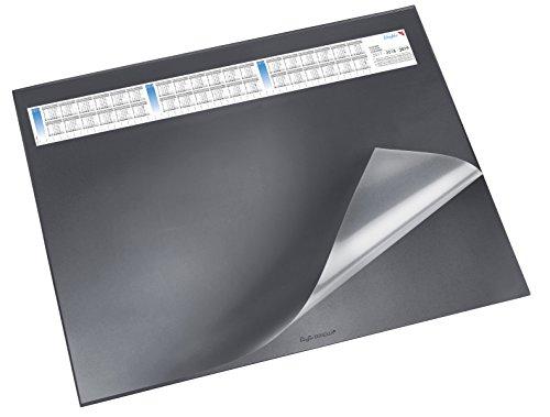 Läufer 44656 Durella DS Schreibtischunterlage mit transparenter Auflage und Kalender, rutschfeste Schreibunterlage, verschiedene Farben, 52 x 65cm, schwarz