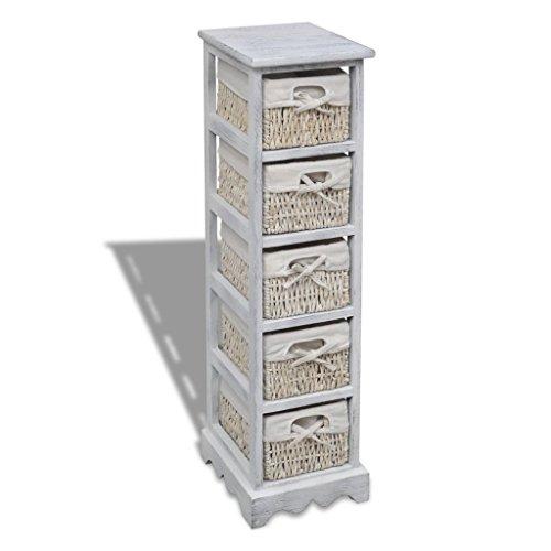 Festnight Korbregal Korbkommode Kommodenschrank mit 5 Körben aus Holz für Flur und Diele, Kinderzimmer, Schlafzimmer oder Bad 25 x 28 x 90 cm Weiß