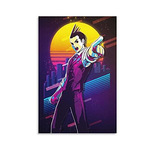 Jizhuang Apollo Justice Retro Apollo Justice Ace Attorney Anime Stampa artistica su tela e stampa artistica da parete, 50 x 75 cm