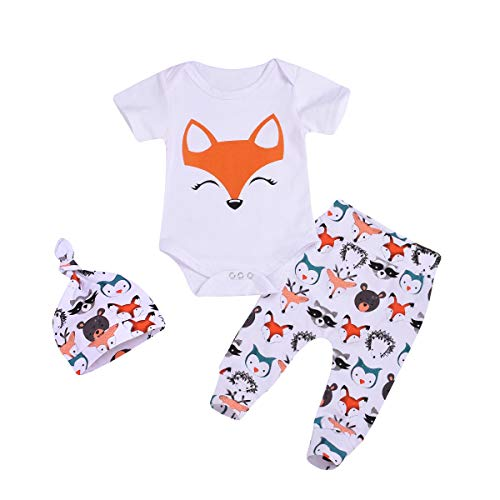 3Pcs/Sets Baby Boy Girl Clothes Short Sleeve Newborn Fox Print Bodysuit Tops Cartoon Pant Trouser with Hat (0-6M, White+Fox)