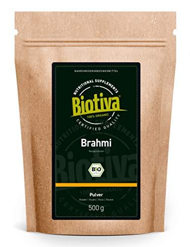 Poudre de Brahmi bio - 500g - Bacopa Monnieri - Hysope d'eau - Végan - Garanti sans additifs - Conditionné et supervisé en Allemagne (DE-ÖKO-005)