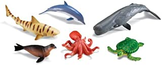 Learning Resources Jumbo Ocean Animals I Octopus, Whale, Shark, Sea Turtle, Seal, and Dolphin, 6 Animals,Multicolor,12 W in