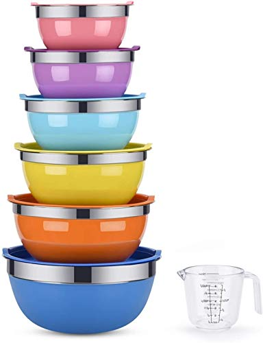 YUNLAN Kitchen Tool Mixing Bowl, 6-piece Salad Bowl, Stainless Steel Basin, Metal Bowl Set (with Color Lid)-set Includes 2, 2.5, 3, 4, 5.5, 7 Quarts, Measuring Cup As A Gift mixing bowl (Color : A)