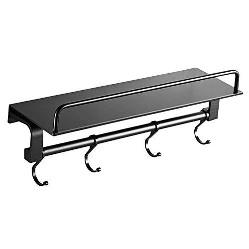 Badkamerrekplank, wandgemonteerde ruimte Aluminium badkamerplankenrek, handdoekenrek, waterdichte leuning met haken Duurzaam metalen cosmetisch opbergrek, 40x12.5x12cm, zwart